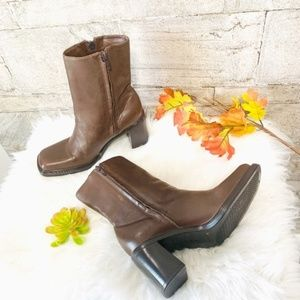 Gianni Bini Square Toes Chunky Heels Ankle Booties